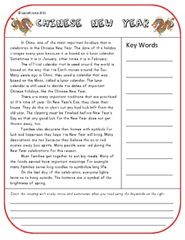 Chinese New Year Read and Retell Activity