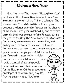 chinese new year reading comprehension passage questions tpt. Black Bedroom Furniture Sets. Home Design Ideas