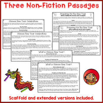Chinese New Year Reading Comprehension Passages and Questions US NZ