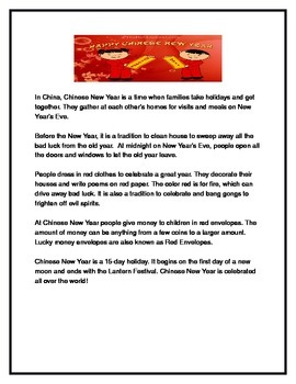 Chinese New Year Reading Comprehension Questions