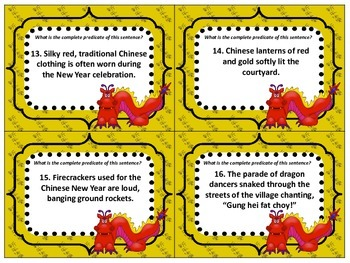 Chinese New Year SCOOT Subjects and Predicates (32 cards)