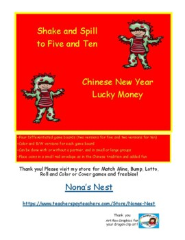 Free Chinese New Year Lucky Money Addition to 5 & 10 Differentiated