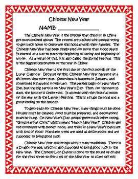 Chinese New Year Thematic Packet