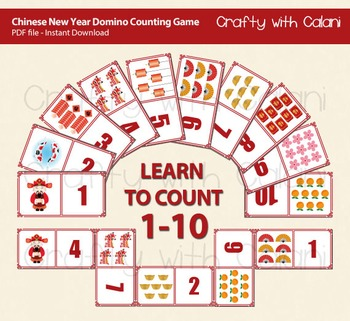 Chinese New Year Theme Domino Cards, Counting Game 1-10
