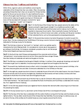 Chinese New Year Traditions - Reading Comprehension