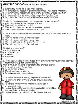Chinese New Year Traditions Reading Comprehension Worksheet, January