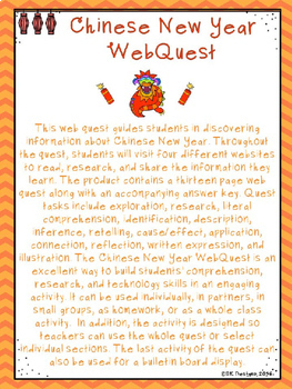 Chinese New Year WebQuest - Engaging Internet Activity {Includes GoogleSlides}