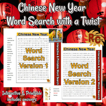 Chinese New Year Word Search with a Twist 5-8th Grade Interactive