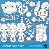 Chinese New Year clipart black white-stamp-lineart-outline