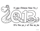 Chinese New Year snake coloring