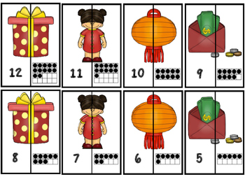 Chinese New year A-Z Matching and 1-20 Ten Frame Number Matching