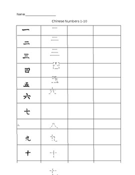 chinese numbers 1 10 worksheet by andrea yee teachers pay teachers. Black Bedroom Furniture Sets. Home Design Ideas