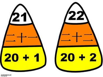Chinese Numbers Candy Corn Matching