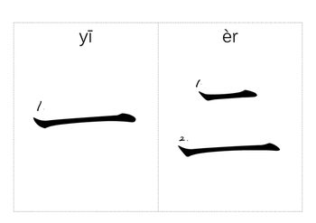 Chinese Numerals flashcards 1 to 10 (with strokes and hany