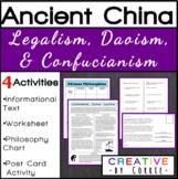 Confucianism (Confucius)/Daoism/Legalism-Reading, Worksheet, & Postcard Activity