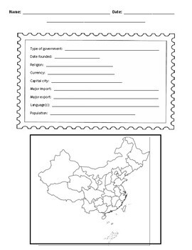 Chinese Provinces Postcard Template