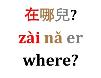 Chinese Question Words Word Wall Traditional/Simplified Color Code by Tones