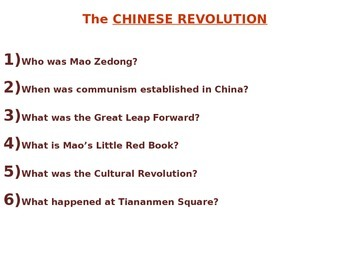 Chinese Revolution PowerPoint - NYS Global Regents Aligned