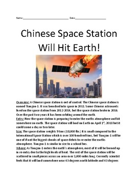 Chinese Space Station heading to Earth - lesson facts  information questions