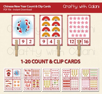 Chinese Theme Count and Clip Cards - numbers 1 - 20