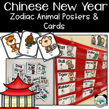 Chinese New Year Learning: Zodiac Animals Posters, Memory Game, Vocabulary