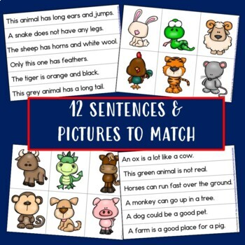 Chinese New Year: Zodiac Animals Sentence-Picture Match Reading Center