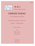 Chinese Zodiac Bingo Game (H&I Bingo Game Sheets) - 3 X 3