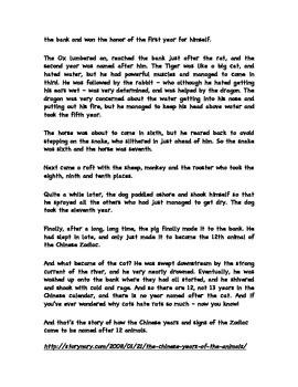 Chinese Zodiac Legend and Worksheet