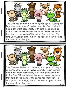 Chinese Zodiac Mini-Reader & Activities