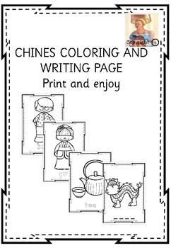 Chinese colouring and writing page