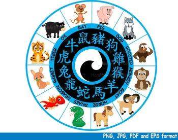 Chinese zodiac Horoscope Reward Clipart astrology animals kawaii new year -141