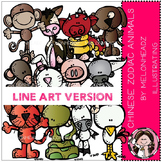 Chinese zodiac animals clip art - LINE ART- by Melonheadz