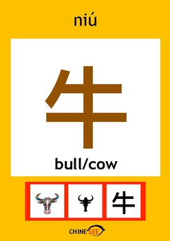 Chinesee Flashcard_牛_Bull/Cow