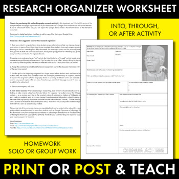 Chinua Achebe Author Study Worksheet, Easy Biography Activity, CCSS
