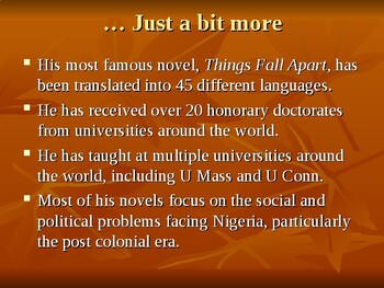 Chinua Achebe PowerPoint Presentation for Things Fall Apart