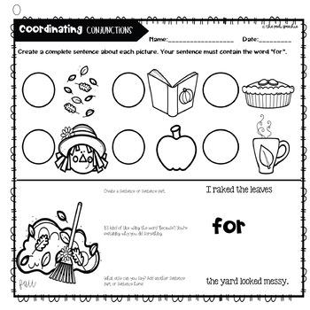 Chip Flips Coordinating Conjunctions | Conjunctions FANBOYS | Grammar Activities