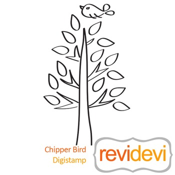 Chipper Bird (digital stamp, coloring image) S011, tree and bird