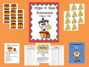 Chips and Salsa Subtraction Math Center (2 digit - 1 digit)