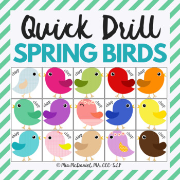 Chirp Chirp Quick Drill {for articulation or fluency therapy & RTI}