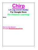 Chirp Lit Log (novel study) For Google Docs (for Distance