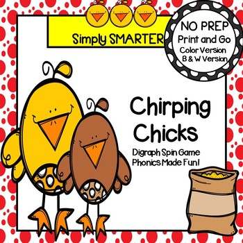 Chirping Chicks:  NO PREP Farm Themed Digraph Spin and Cover Game