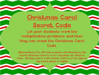 Christmas Carol Single Digit Multiplication Secret Code with Bonus QR Code
