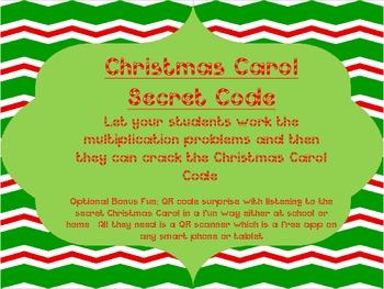 Christmas Carol Single Digit Multiplication Secret Code wi