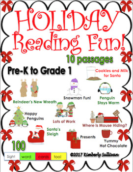 Christmas Holiday Reading comprehension passages and questions   PRE K - K
