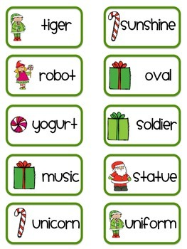 Chistmas Long Vowel Word and Syllable Sort Activity