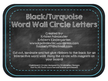 Chalkboard and Turquoise Word Wall Circle Cards