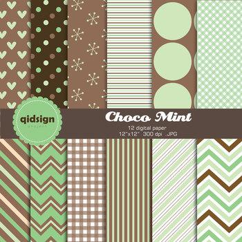 Choco Mint Digital Paper Set