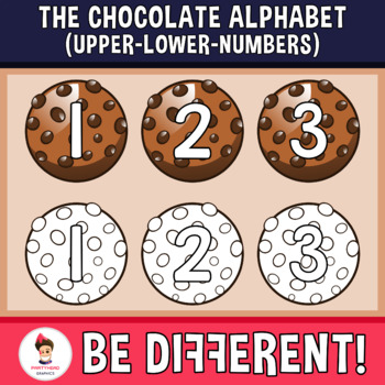 Chocolate Alphabet Clipart Letters ENG.-SPAN. (Upper-Lower-Numb.)
