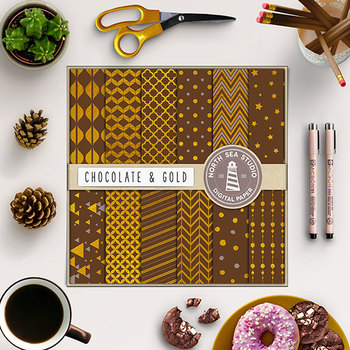 Chocolate And Gold Papers, Gold Patterns, Chocolate Backgrounds