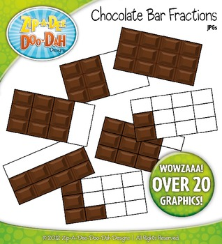 chocolate bar fractions clipart zip a dee doo dah designs tpt. Black Bedroom Furniture Sets. Home Design Ideas